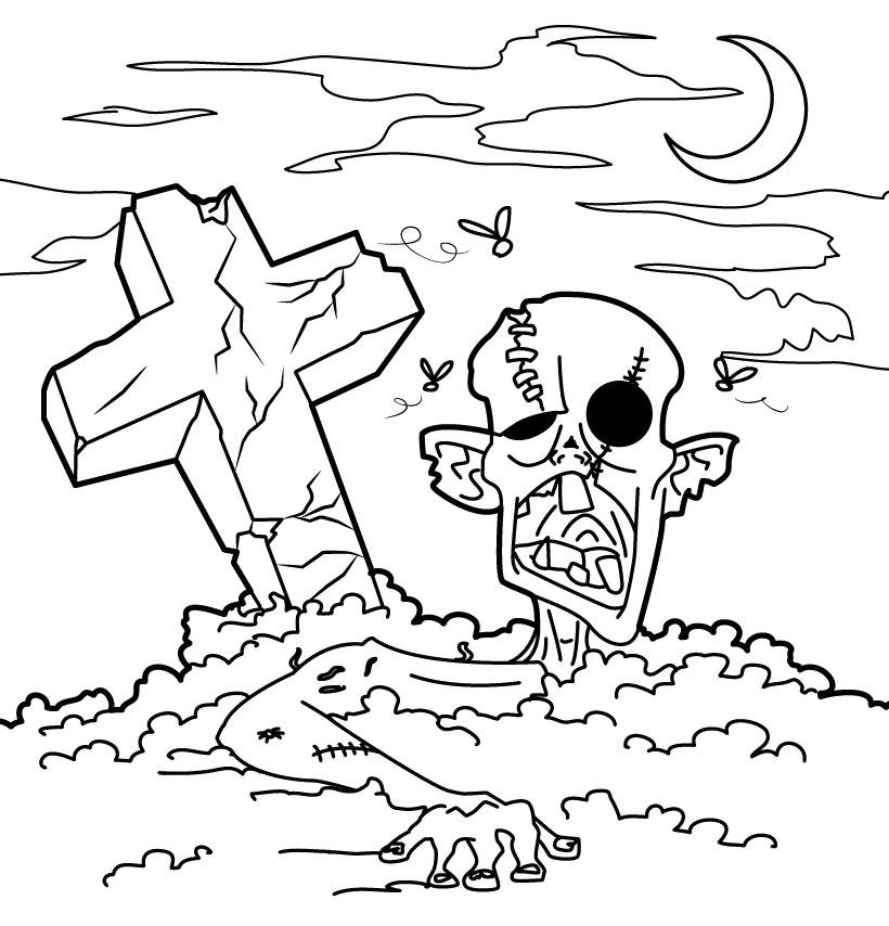 Graveyard coloring #3, Download drawings