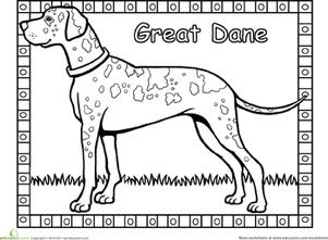 Great Dane coloring #12, Download drawings