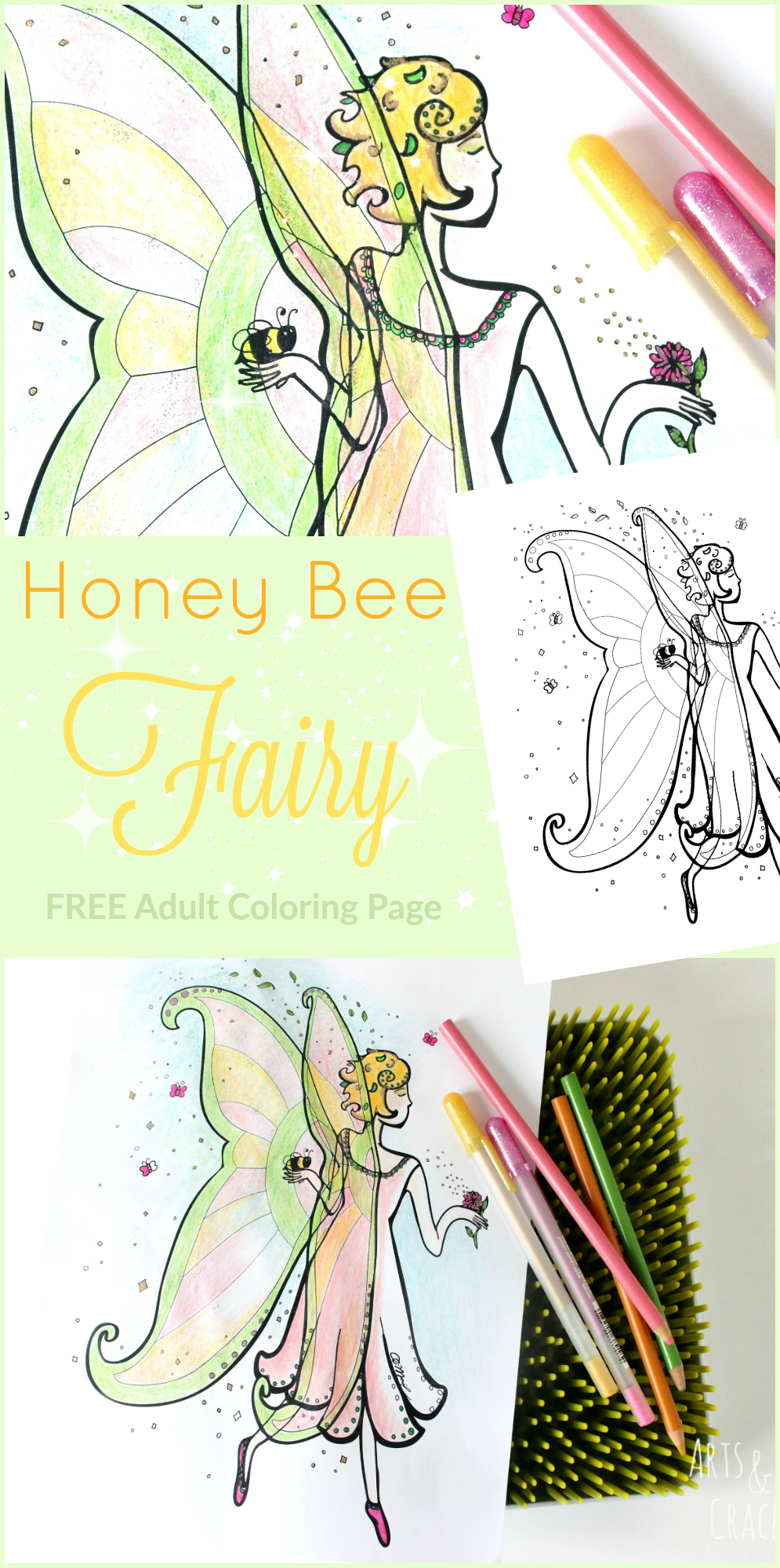 Green Fairy coloring #1, Download drawings