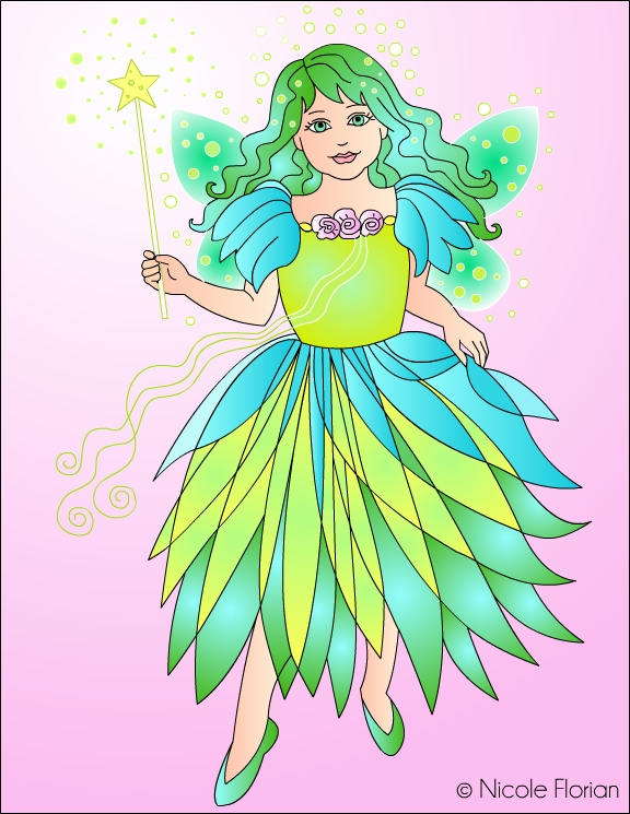 Green Fairy coloring #20, Download drawings