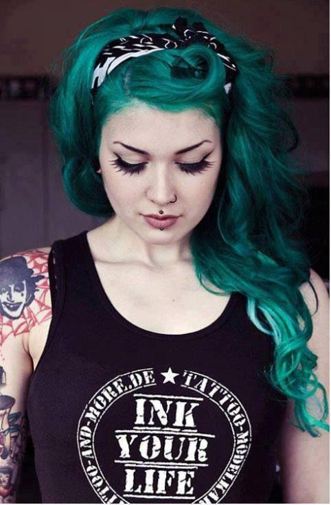 Green Hair coloring #4, Download drawings