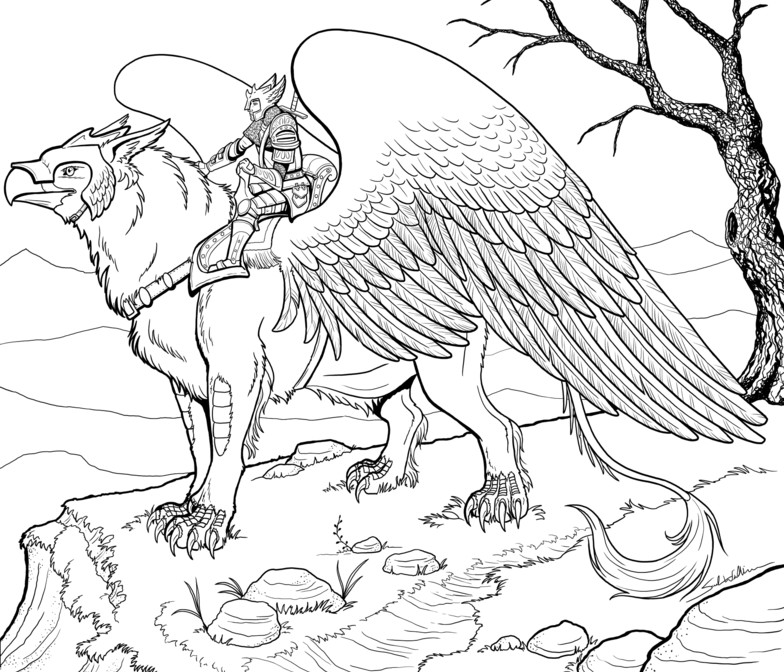 Griffin coloring #10, Download drawings