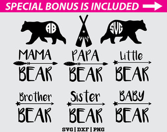 Grizzly Family svg #3, Download drawings