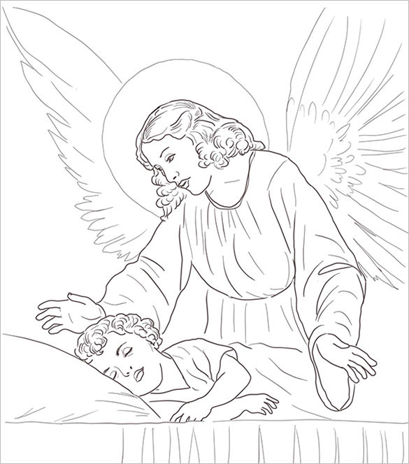 Guardian Angel coloring #2, Download drawings