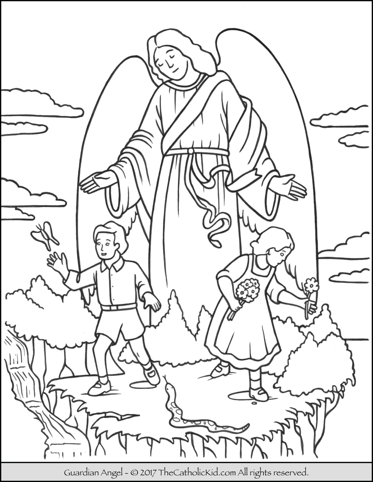 Guardian Angel coloring, Download Guardian Angel coloring ...