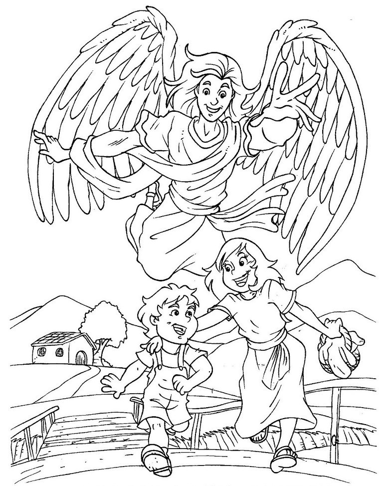 Guardian Angel coloring #12, Download drawings
