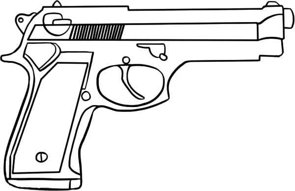 Pistol coloring download pistol coloring for Shotgun coloring pages