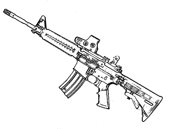 Assault Rifle coloring #1, Download drawings