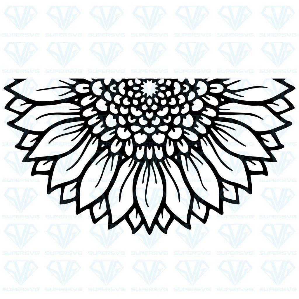 half sunflower svg #917, Download drawings