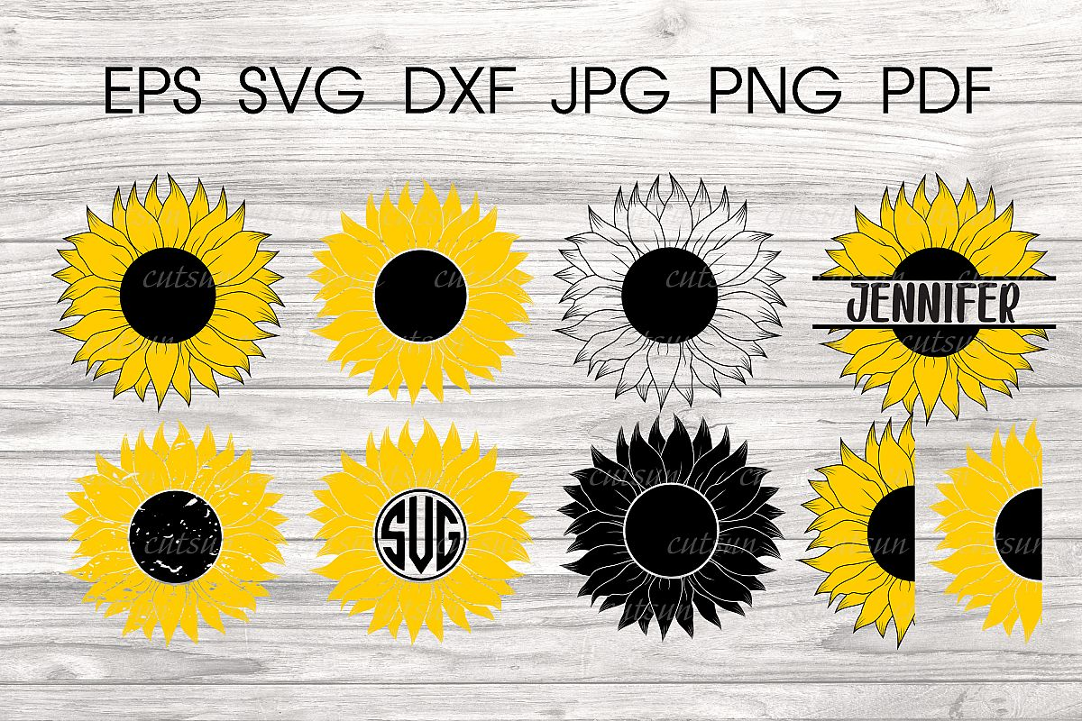 half sunflower svg #916, Download drawings