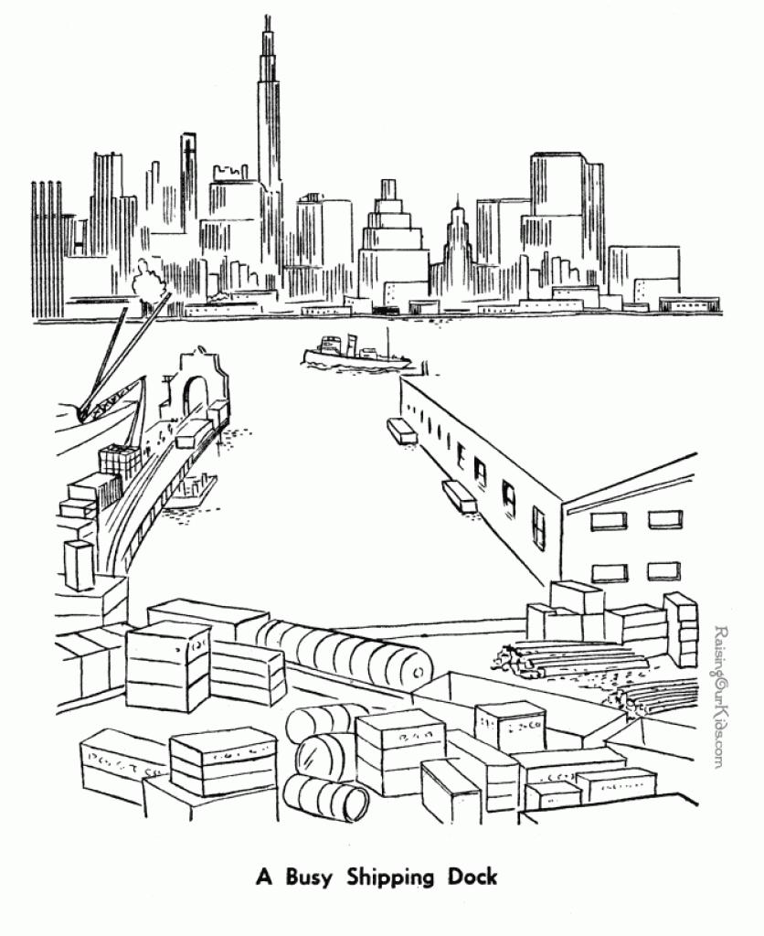 Harbor coloring #5, Download drawings