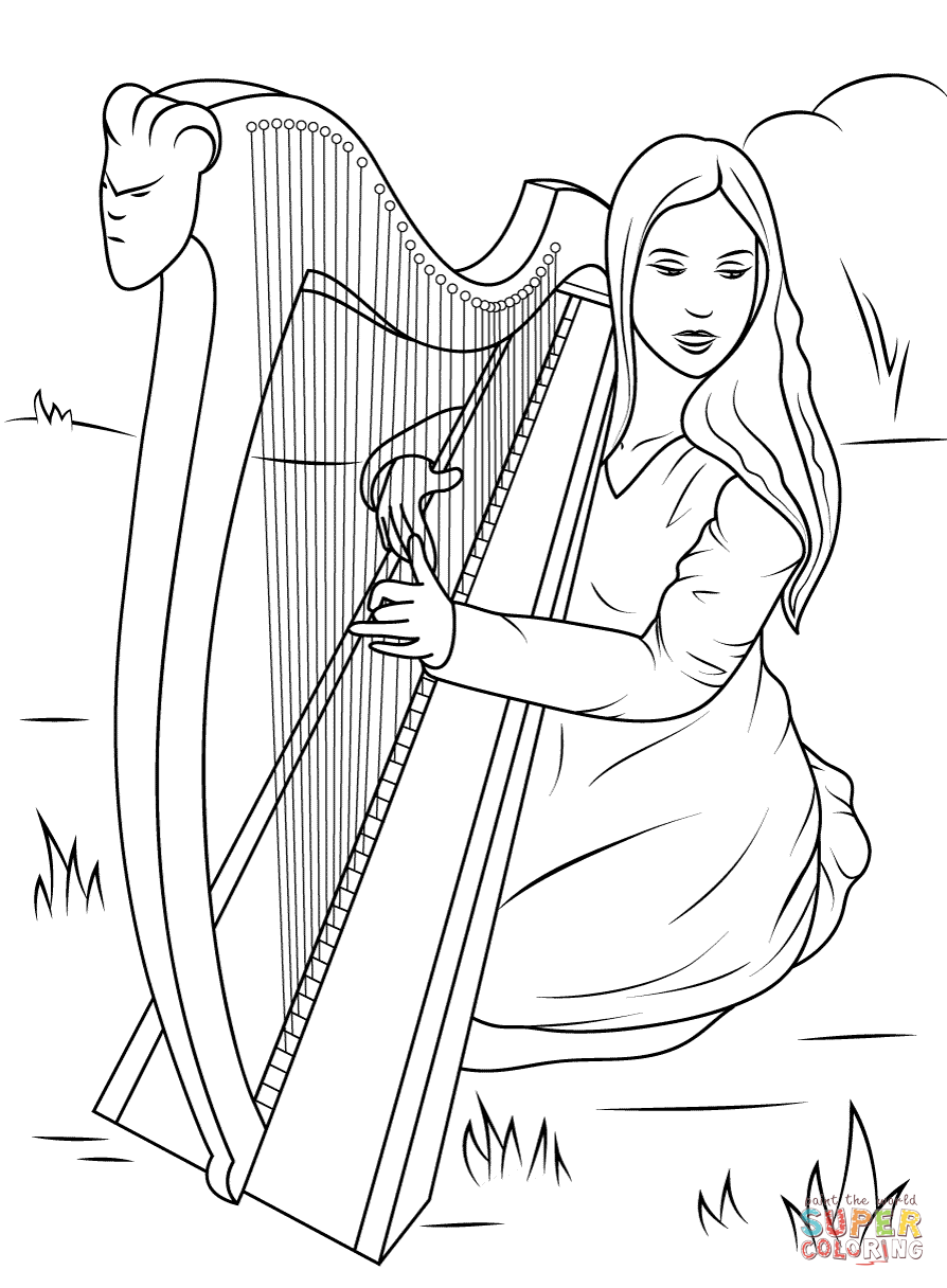 Harp coloring #3, Download drawings