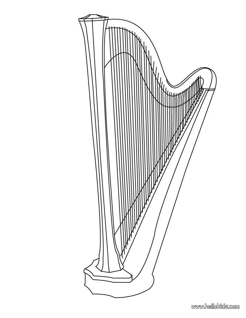 Harp coloring #11, Download drawings