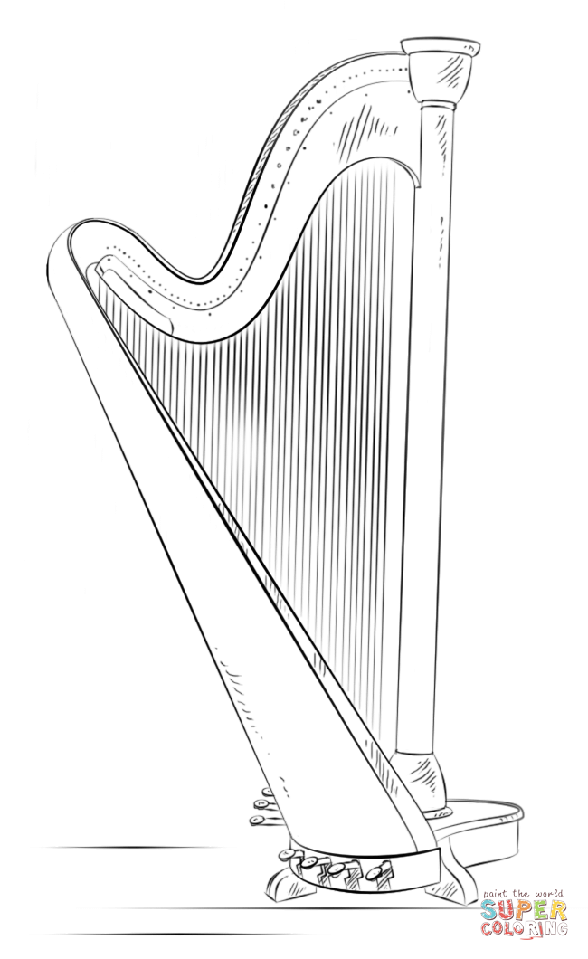 Harp coloring #12, Download drawings