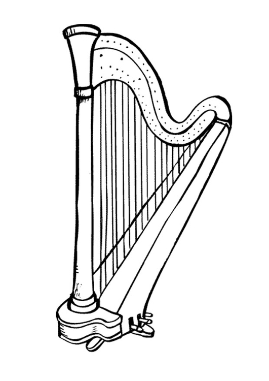 Harp coloring #6, Download drawings
