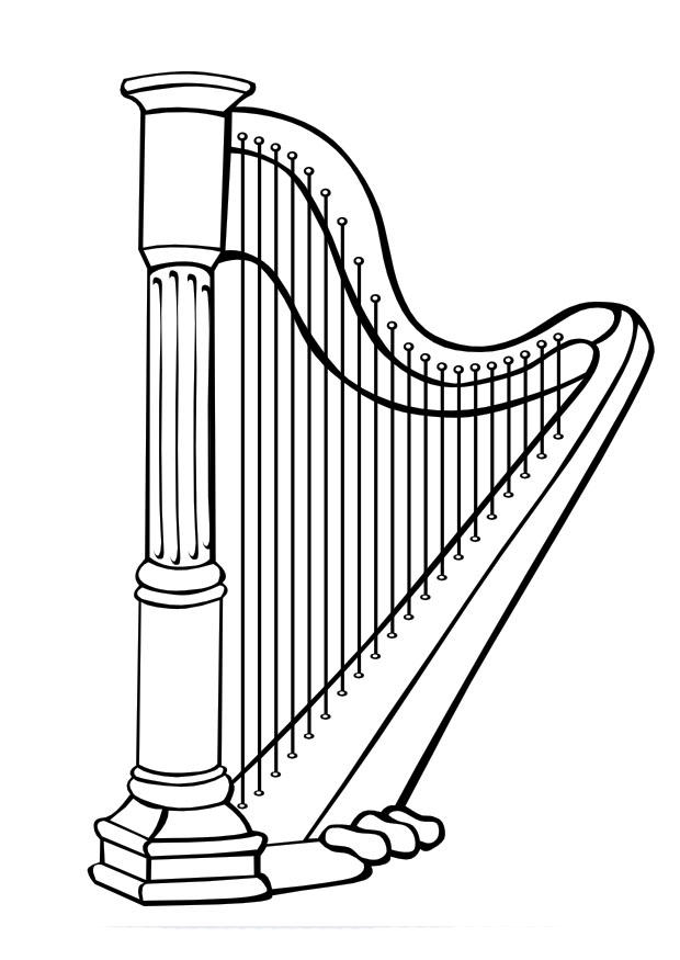 Harp coloring #5, Download drawings