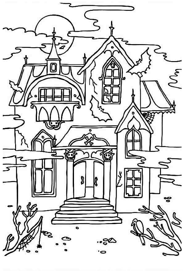 Haunted House coloring #5, Download drawings