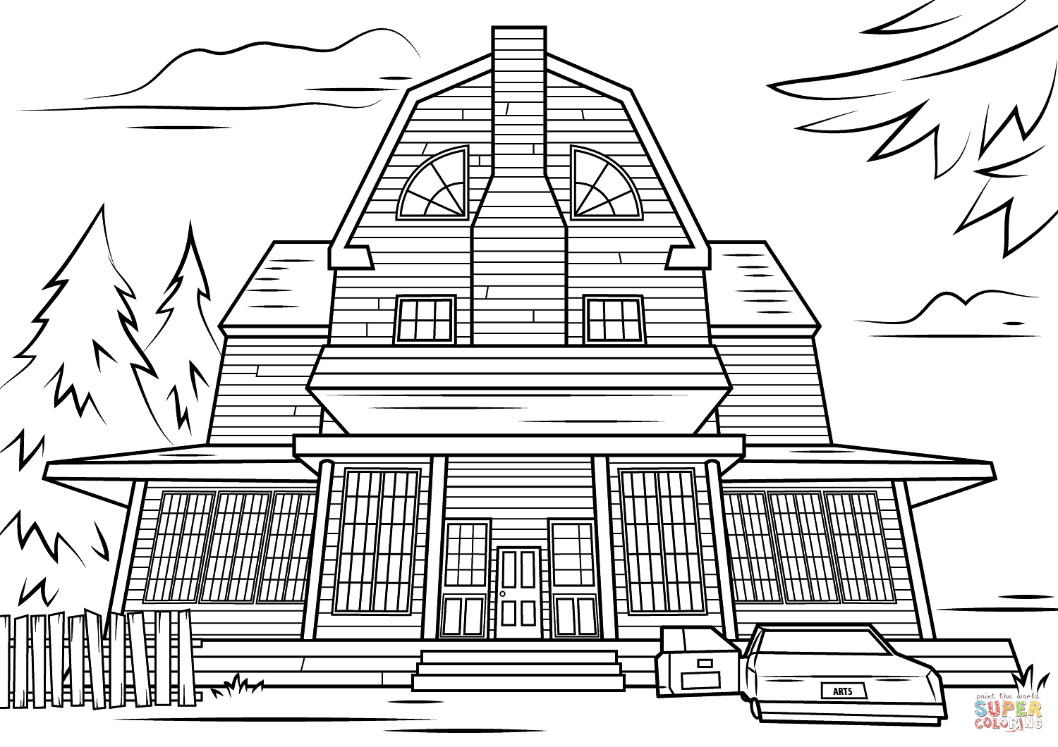 Haunted House coloring #6, Download drawings