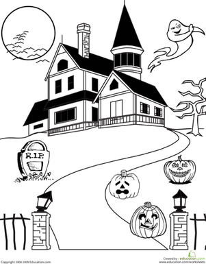 Haunted House coloring #8, Download drawings