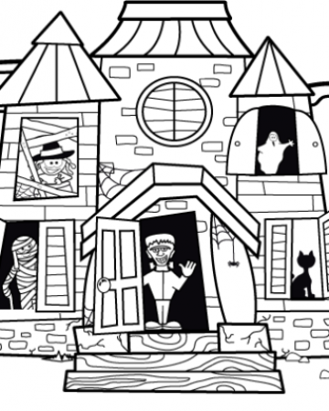 Haunted House coloring #7, Download drawings
