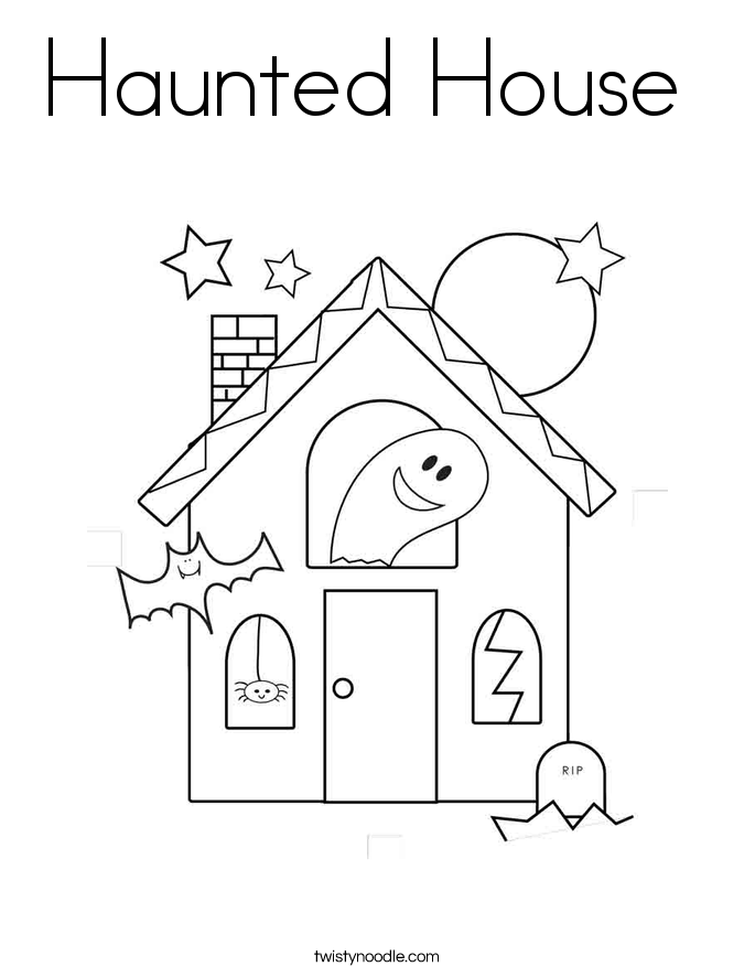 Haunted House coloring #4, Download drawings