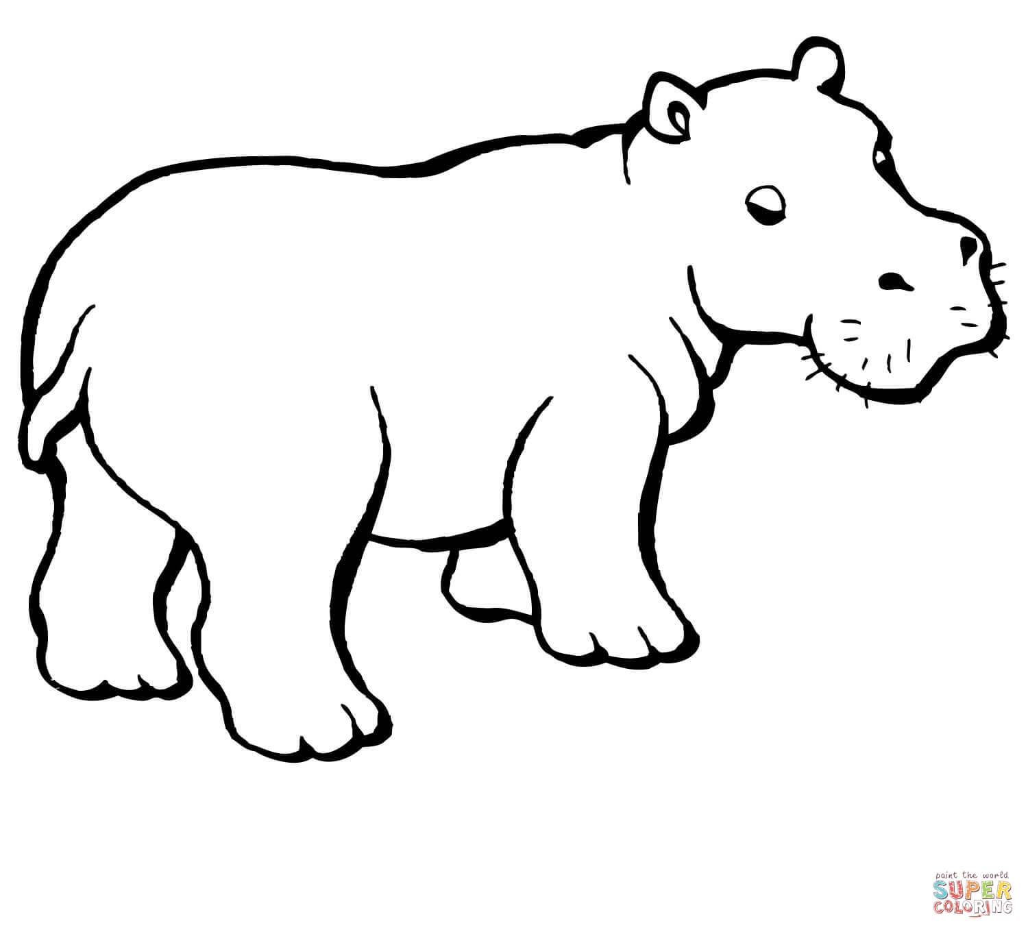 Hippo coloring #6, Download drawings