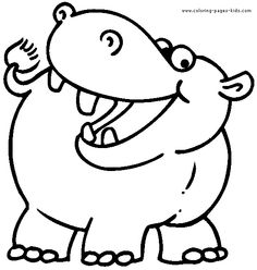 Hippo coloring #15, Download drawings