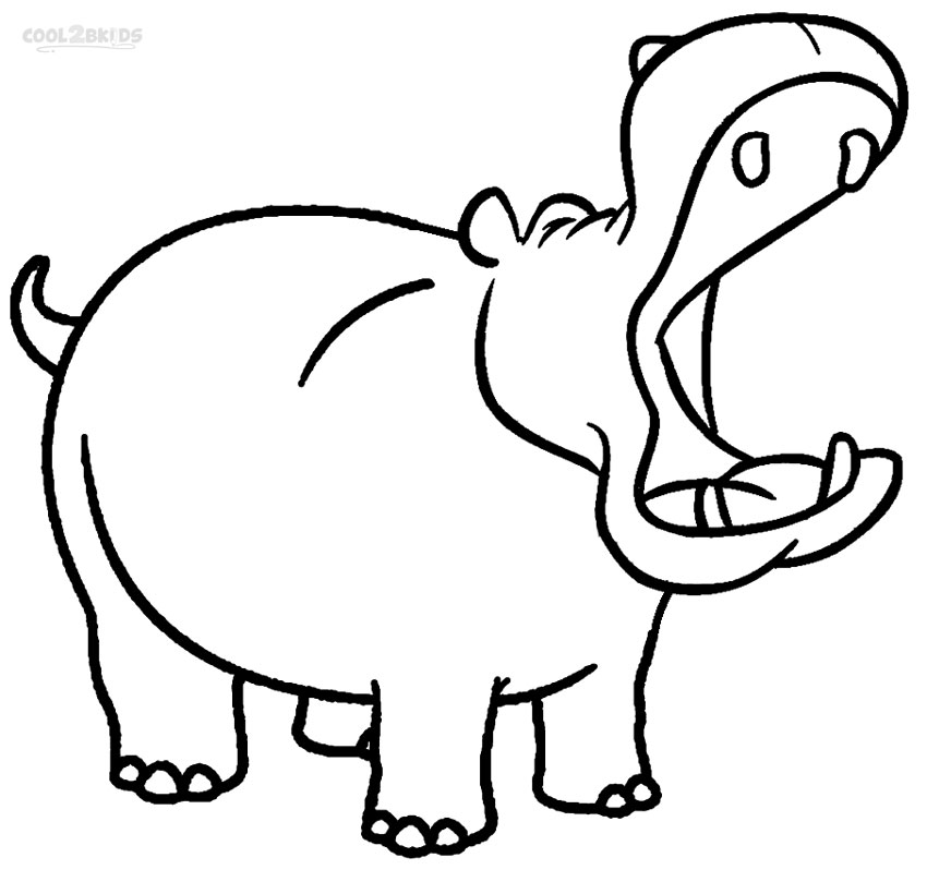 Hippo coloring #10, Download drawings