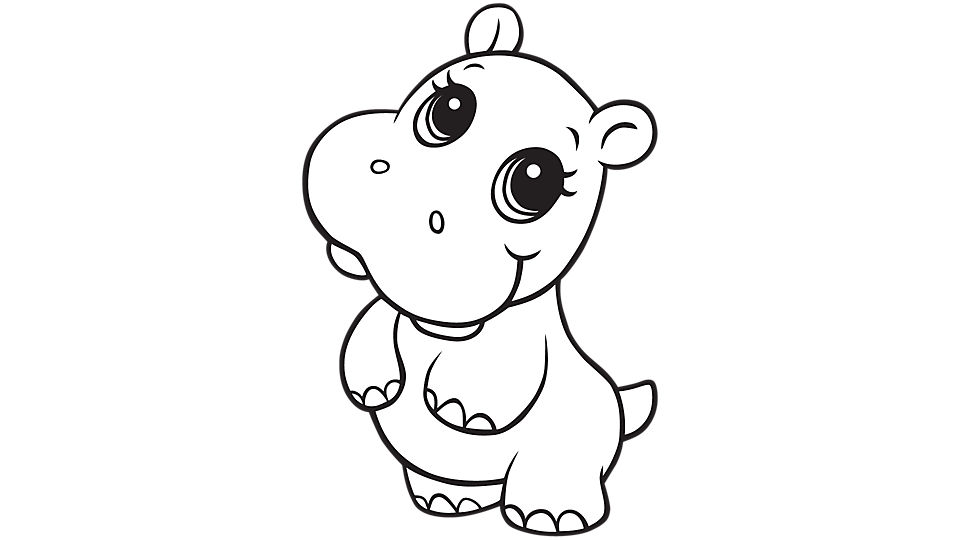 Hippo coloring #2, Download drawings