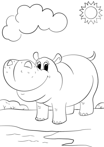 Hippo coloring #13, Download drawings