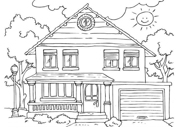 Homes coloring #3, Download drawings