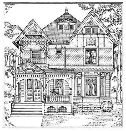 Homes coloring #6, Download drawings