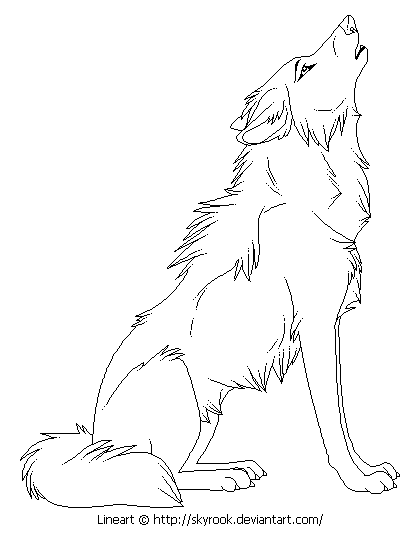 Cartoon wolf howling drawings