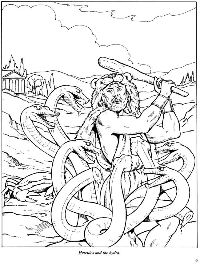 Hydra coloring #4, Download drawings