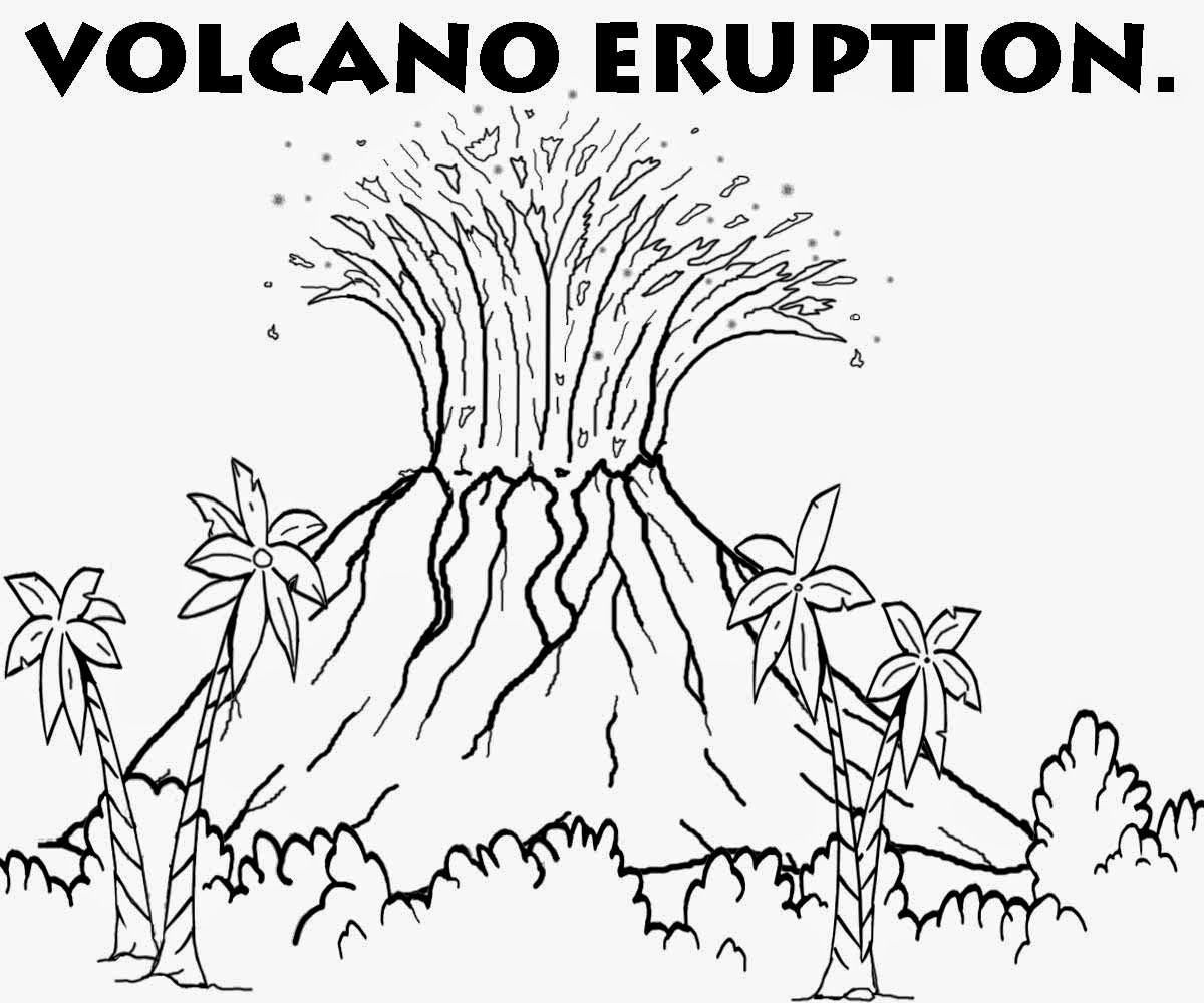 Island Volcano Eruption coloring #15, Download drawings