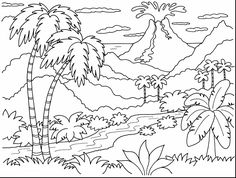 Island Volcano Eruption coloring #12, Download drawings