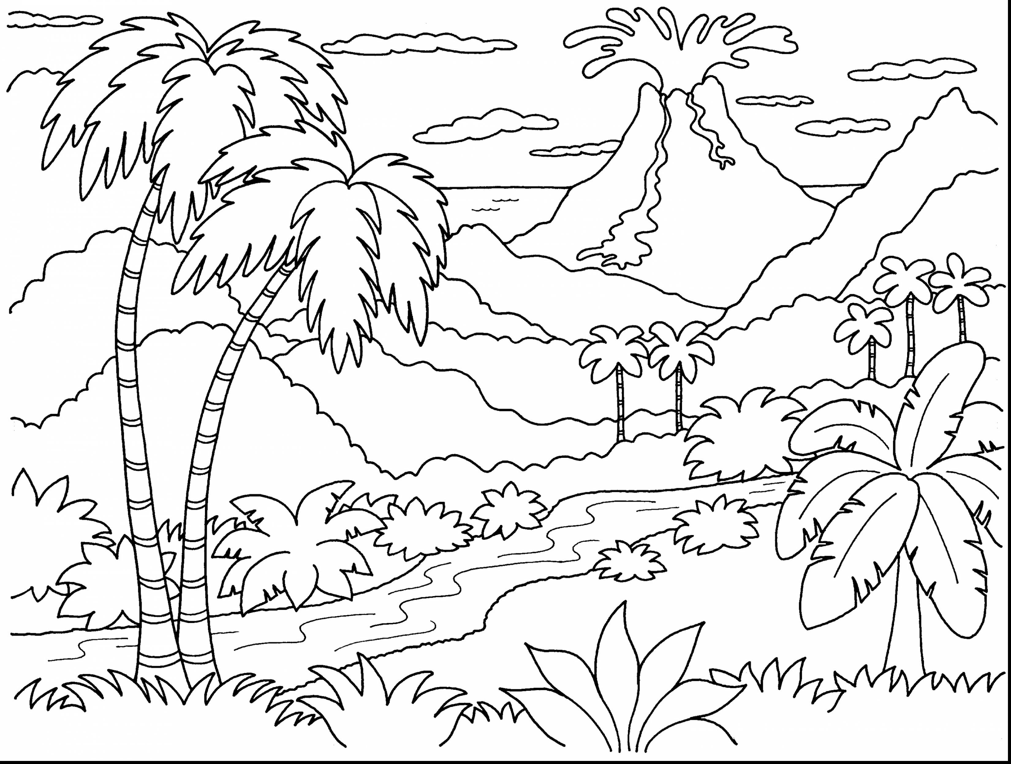 Island Volcano Eruption coloring #16, Download drawings
