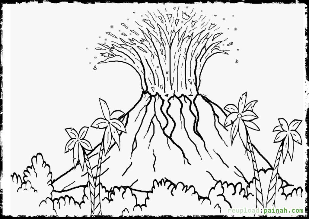 Volcano coloring #11, Download drawings