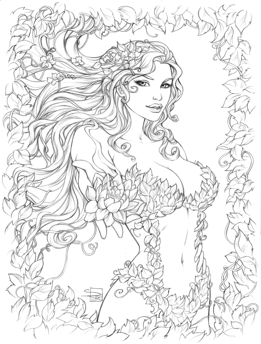 Poison Ivy coloring #3, Download drawings