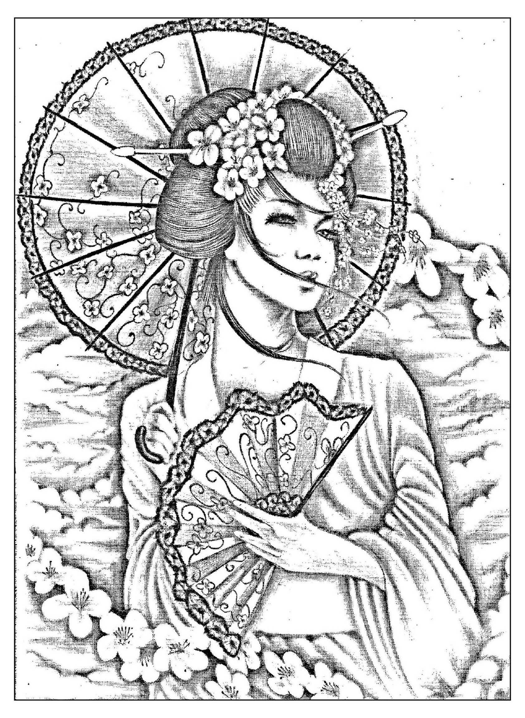 Geisha coloring #11, Download drawings