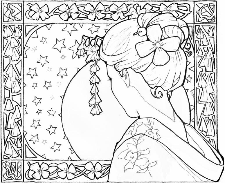 Geisha coloring #10, Download drawings