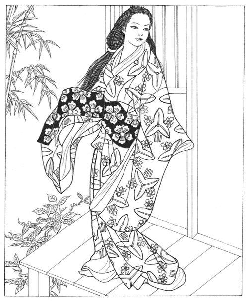 Kimono coloring #5, Download drawings