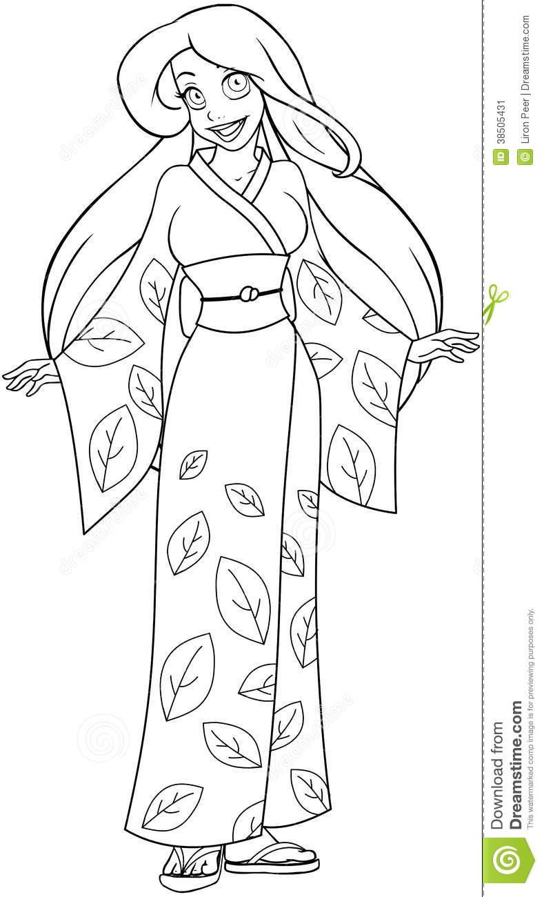 Kimono coloring #10, Download drawings
