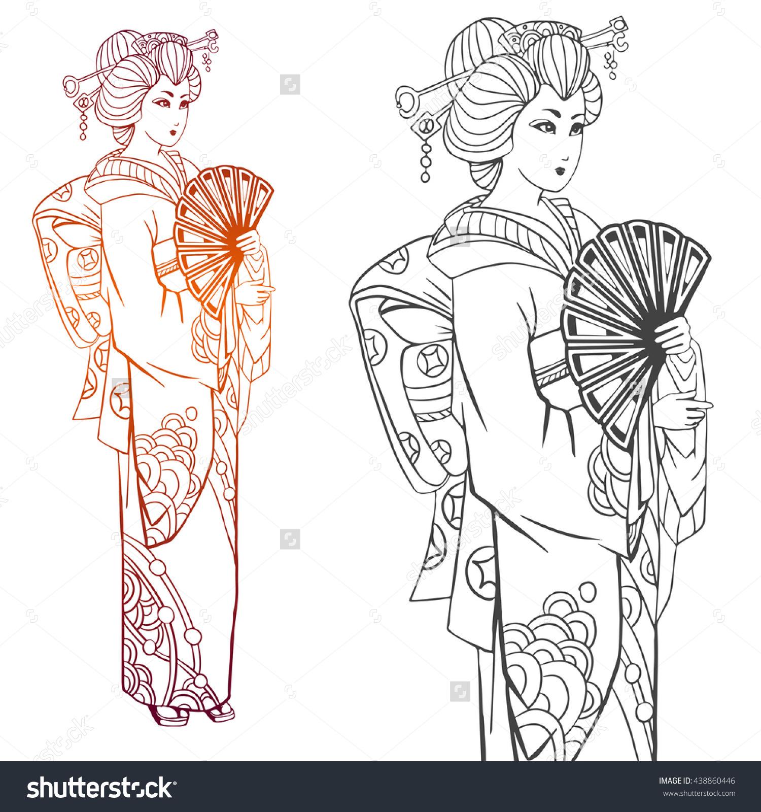 Kimono coloring #7, Download drawings