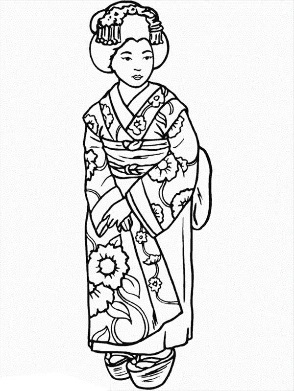 Kimono coloring #17, Download drawings