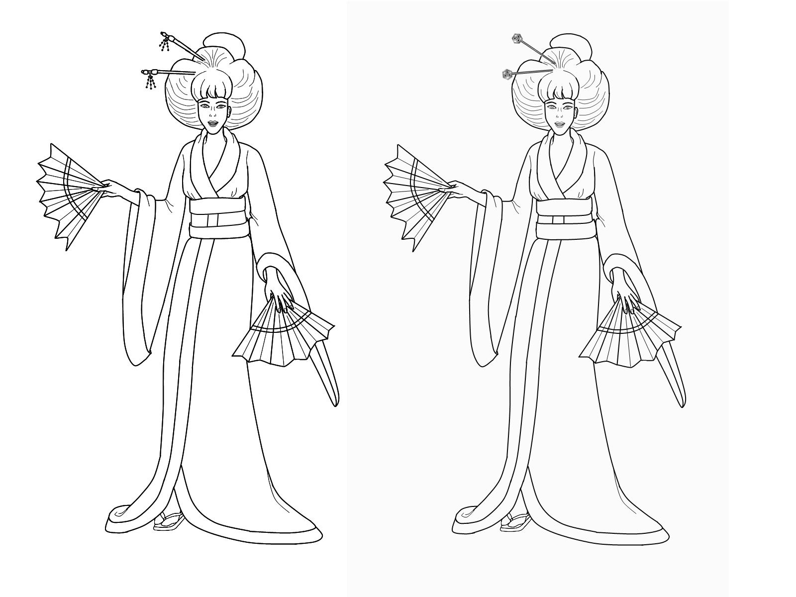 Kimono coloring #2, Download drawings