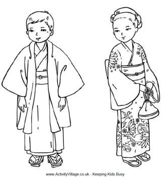 Kimono coloring #15, Download drawings