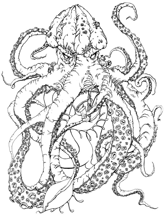 Kraken coloring #8, Download drawings
