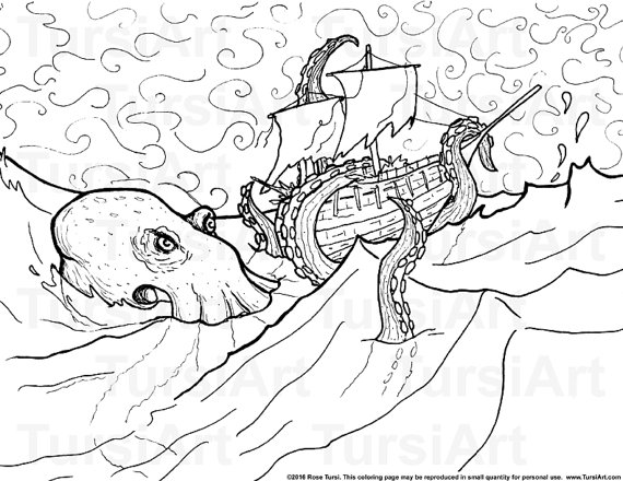 Kraken coloring #15, Download drawings