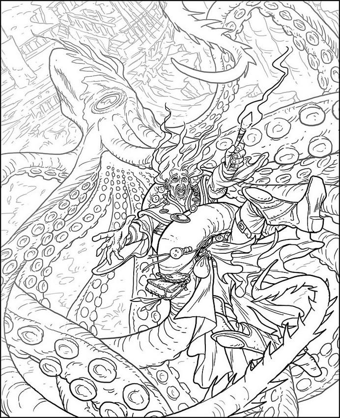 Kraken coloring #4, Download drawings